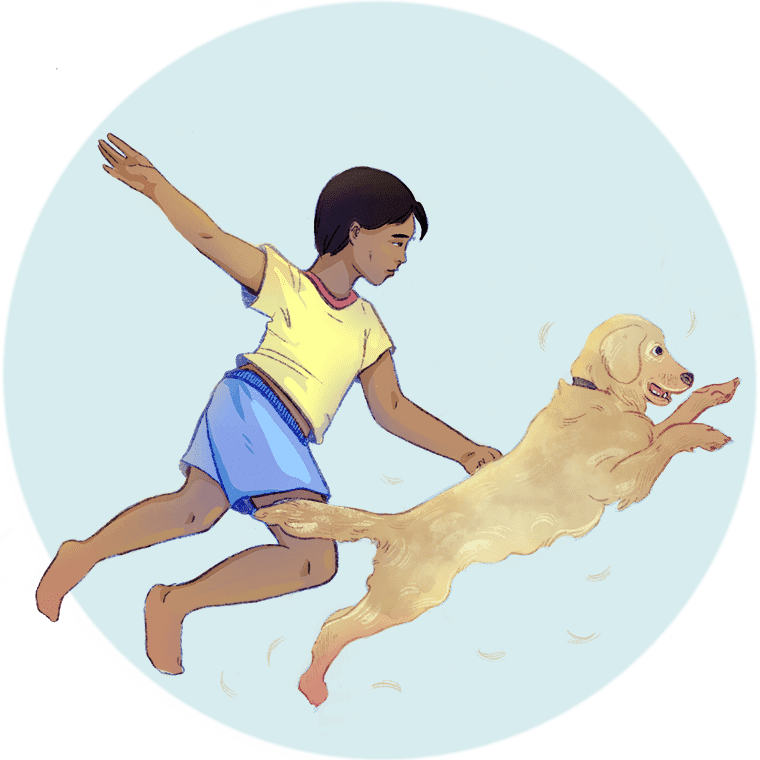 Illustration of young person in shorts playing with a dog who is shedding fur