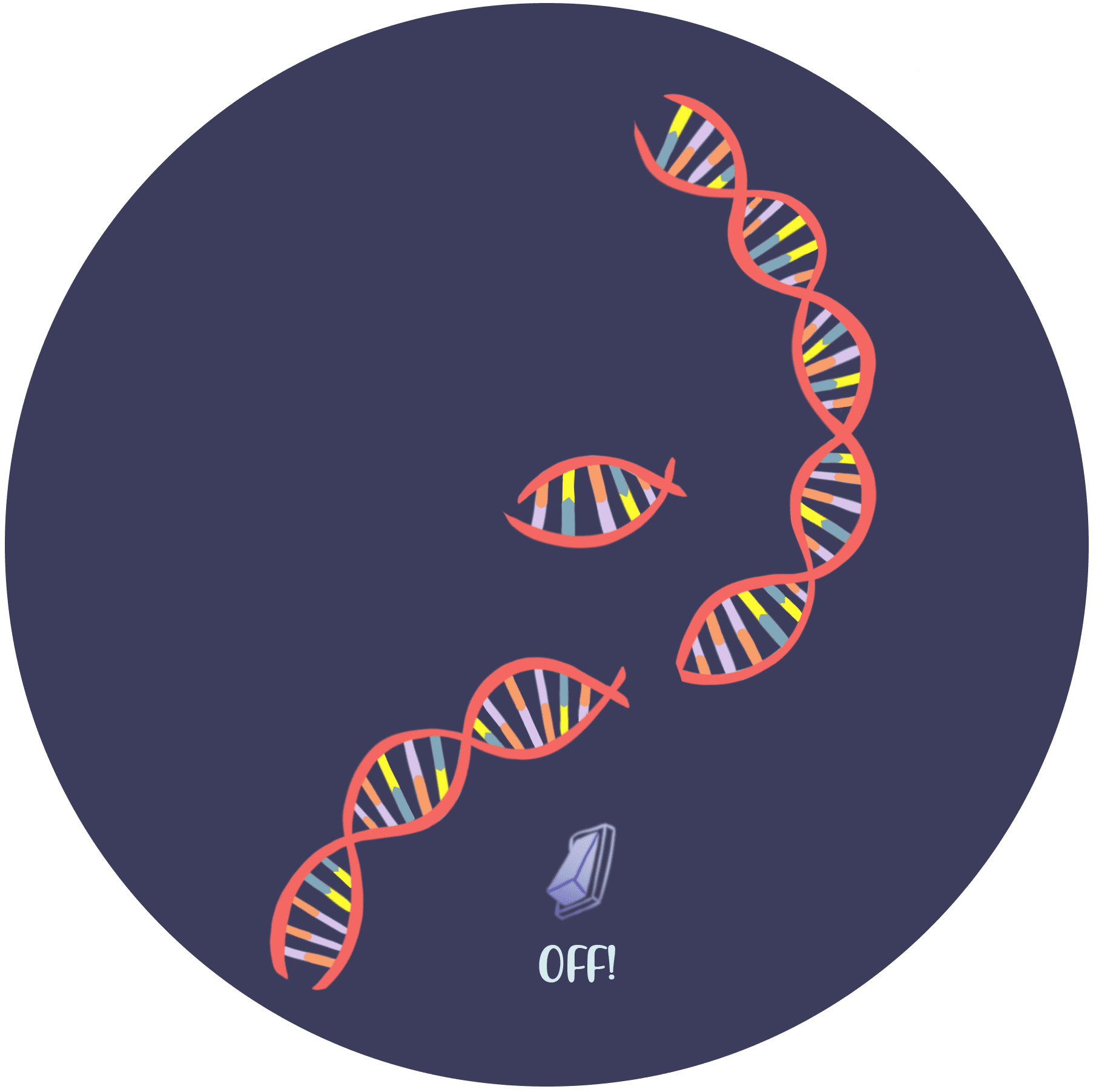 """Illustration of DNA with a light switch that says """"OFF!"""""""