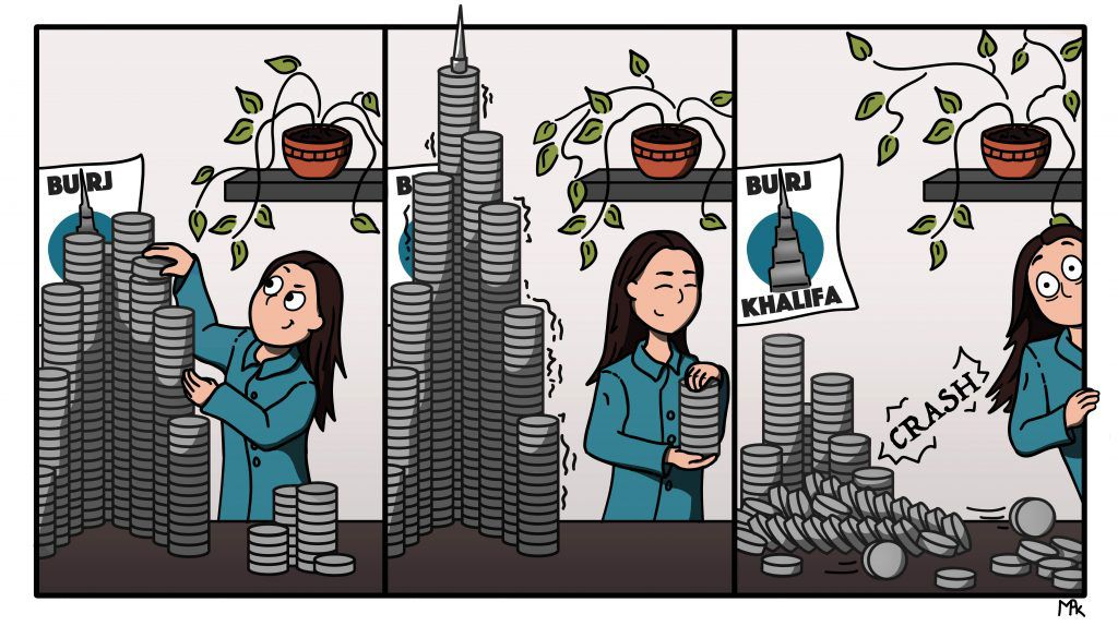 comic shows a scientist stacking plates into a the shape of building. The plates then collapse, making a loud sound