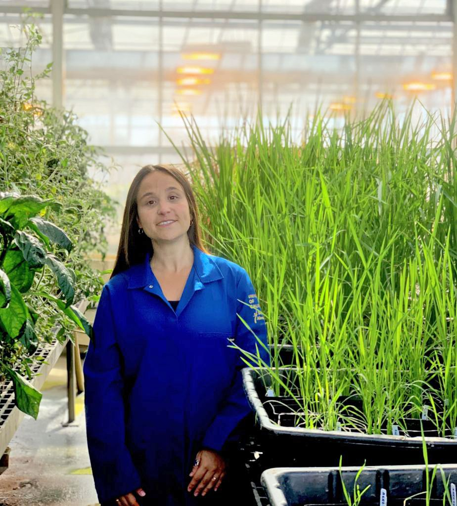 María Florencia Ercoli in a greenhouse at UC Davis